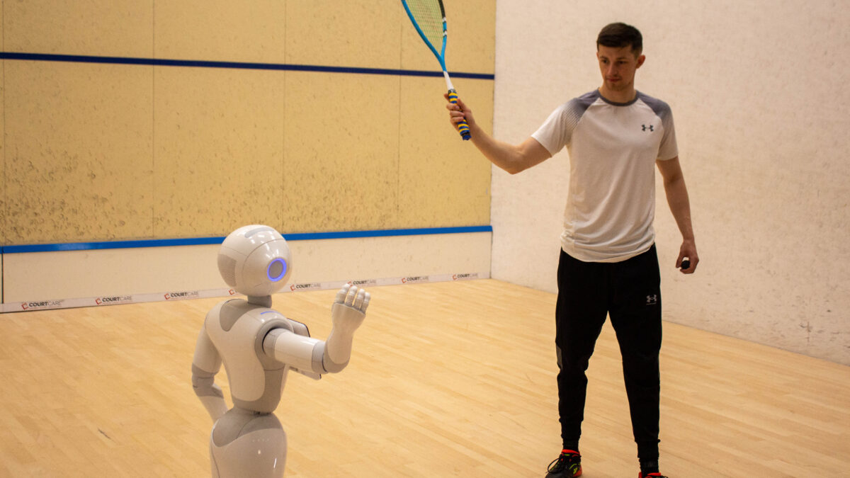 Robot serves up squash tips to players in 'world first' Edinburgh coaching experiment